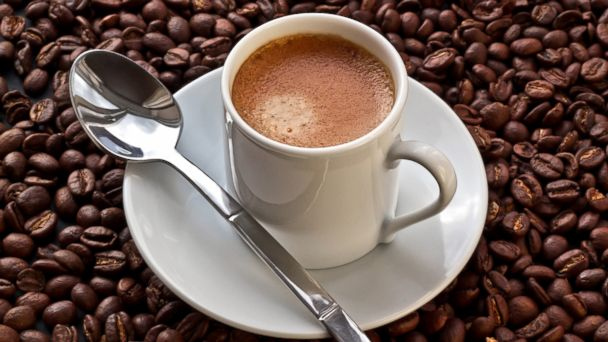 PHOTO: Espresso coffee on coffee beans.