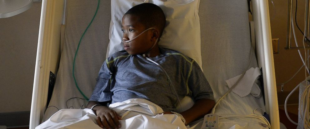 PHOTO: 9-year-old patient Jayden Broadway of Denver is being treated for the enterovirus 68 at the Childrens Hospital Colorado on Sept. 8, 2014 in Aurora, Colo.