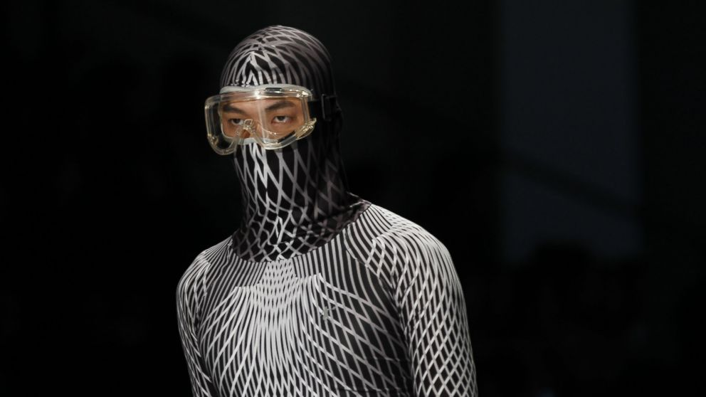 A facial mask appears at the China international fashion week, Oct. 28, 2014, in Beijing.