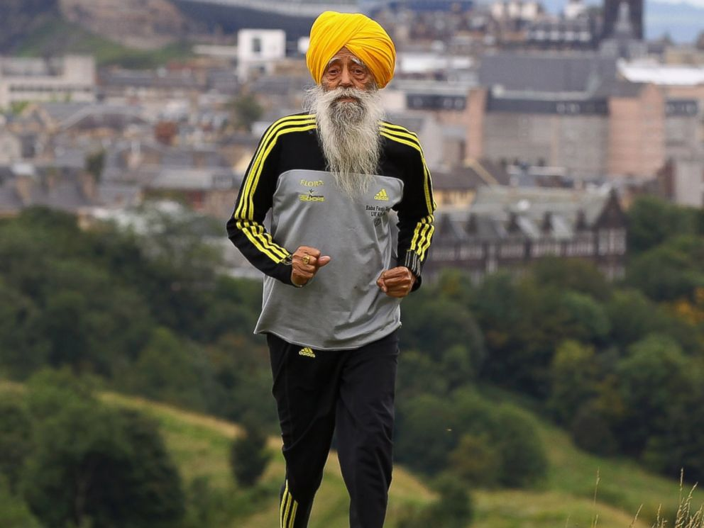 PHOTO: Centenarian Sikh runner Fauja Singh is pictured on Sept. 1, 2011 in Edinburgh, Scotland.