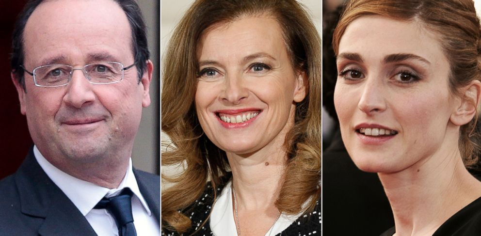 PHOTO: Valerie Trierweiler, center, the partner of French President Francois Hollande, left, was hospitalized after she learned of his affair with actress Julie Gayet, right.
