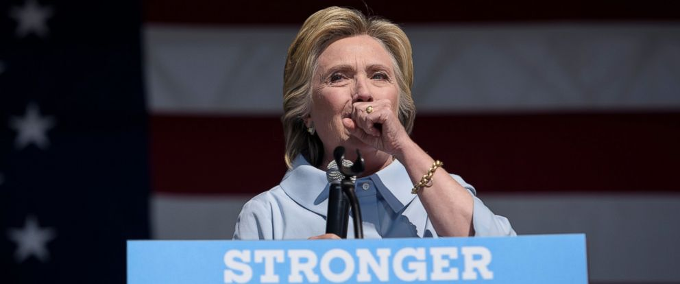 PHOTO: Democratic presidential nominee Hillary Clinton coughs during a Labor Day rally, Sept. 5, 2016 in Cleveland.