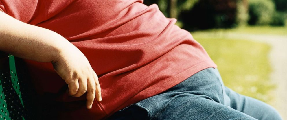PHOTO: The mid-section of an overweight man sitting on a park bench is pictured in this undated stock photo.