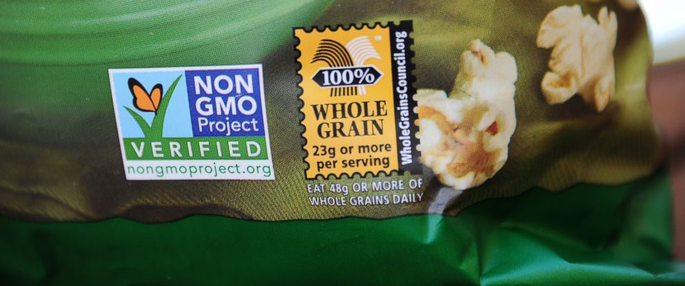 PHOTO: A label on a bag of popcorn indicates it is a non-GMO food product, in Los Angeles in this Oct. 19, 2012 file photo.