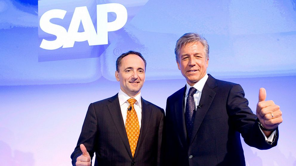 CO-CEOs of SAP AG Bill McDermott, right, and Jim Hagemann Snabe during the annual results press conference on Jan. 23, 2013 in Walldorf, Germany.