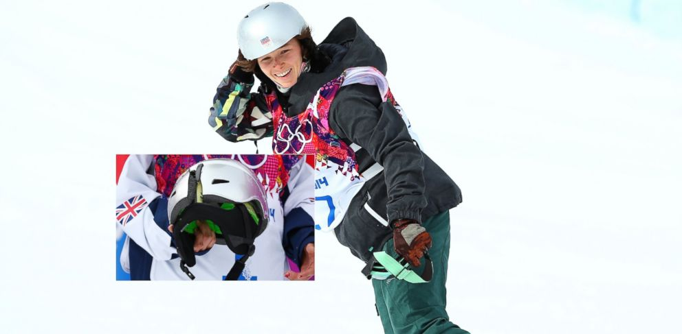 PHOTO: Sarka Pancochova of Czech Republic smiles after her womens snowboard slopestyle finals at Rosa Khutor Extreme Park, Feb. 9, 2014, in Sochi, Russia. Inset, Pancochovas cracked helmet, held by Jenny Jones of Great Britain, on the same day.