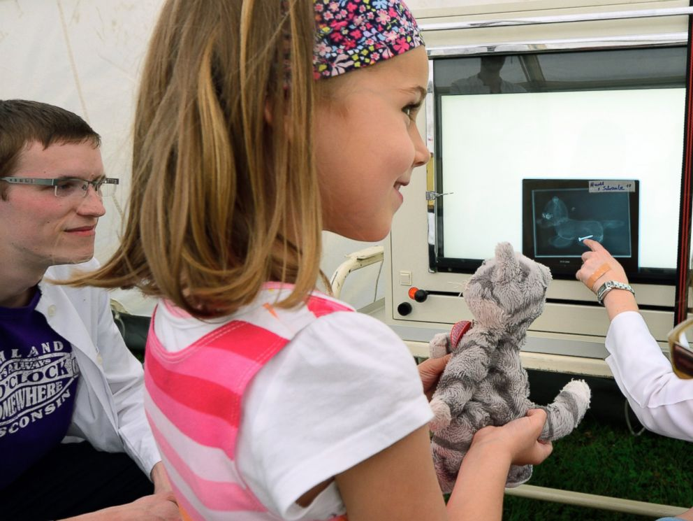 PHOTO: Paula, age 5, and her stuffed cat Trudi, attend a consultation with doctors in the X-ray tent of the Teddy Clinic on June 4, 2014 in Giessen, Germany.