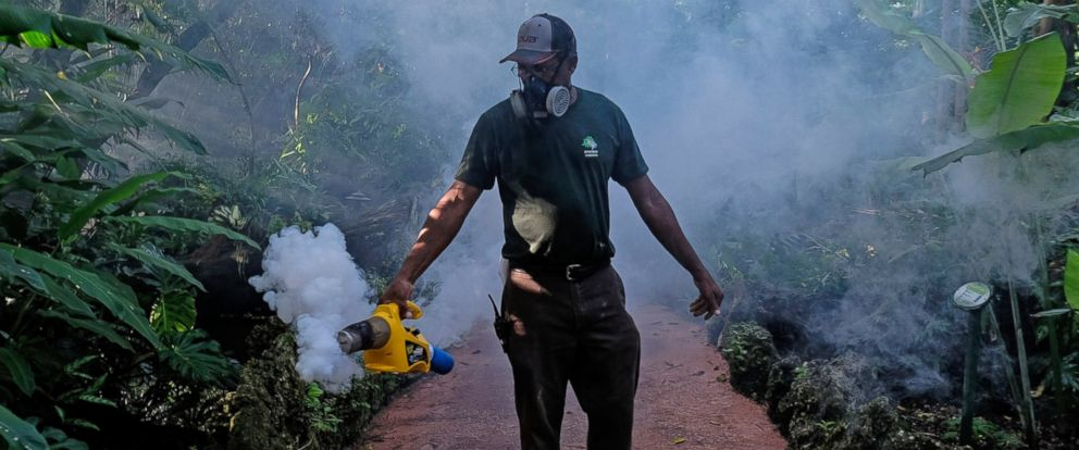 PHOTO: Fran Middlebrooks, a grounds keeper at Pinecrest Gardens uses a blower to spray pesticide to kill mosquitoes, Aug. 4, 2016, in Miami, in order to try to combat the Zika outbreak.
