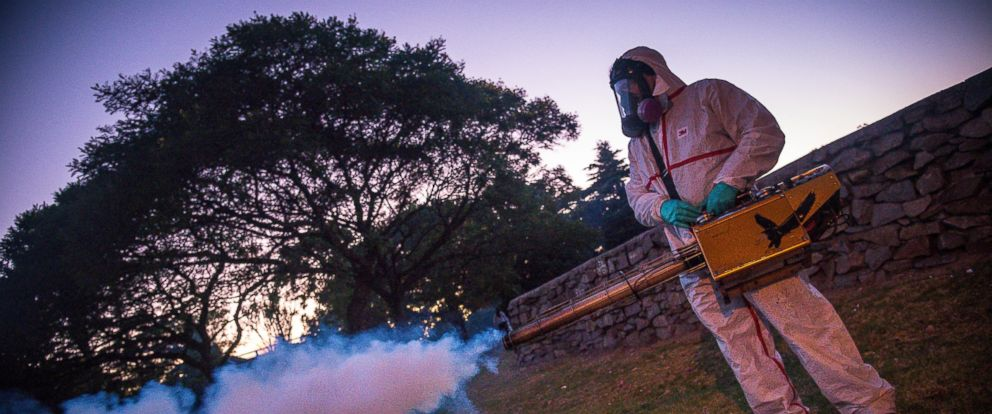 PHOTO:A worker from Municipality of Montevideo fumigates against the Aedes aegypti mosquito, a transmitter of zika virus, Feb. 10, 2016 in Montevideo, Uruguay.