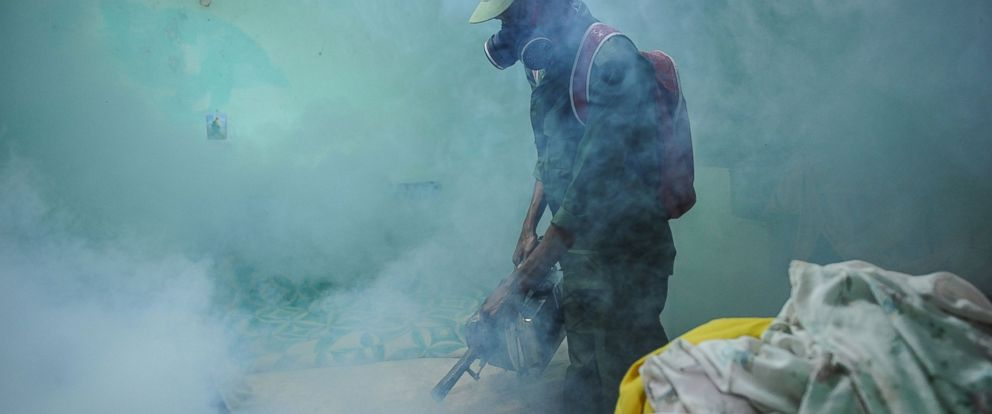 PHOTO:A member of the Cuban army fumigates against the Aedes aegypti mosquito to prevent the spread of zika in Havana, Feb. 23, 2016.