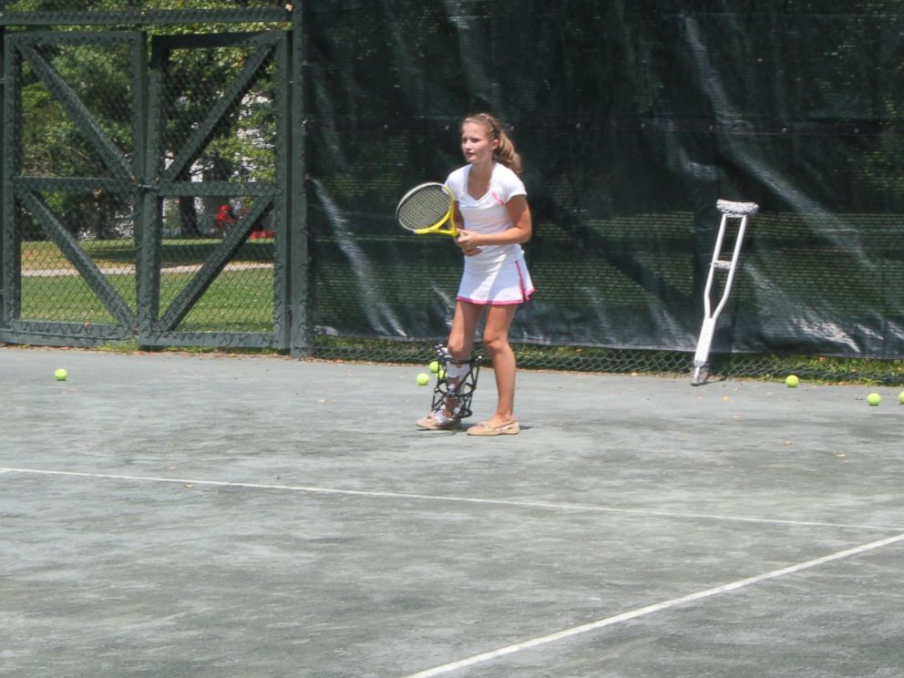 PHOTO: It took more than a year, but Charlottes right leg is now just as long as her left, and she is able to get back to playing tennis.