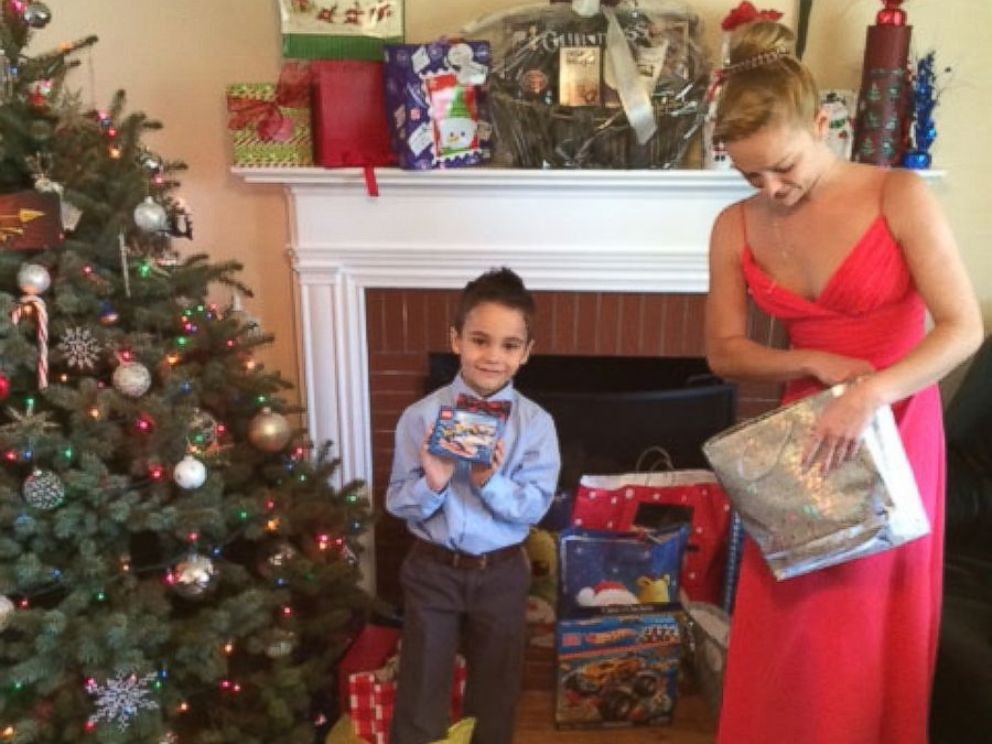PHOTO: Lessya Kotelevskaya and her son Erik during their first Christmas in the U.S.