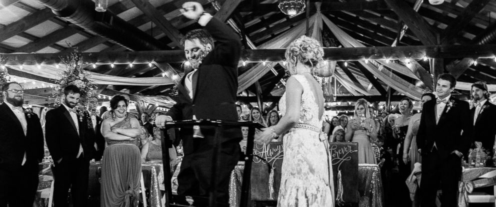 PHOTO:A specially-designed platform let Stephenson stand and even dance after his wedding ceremony.