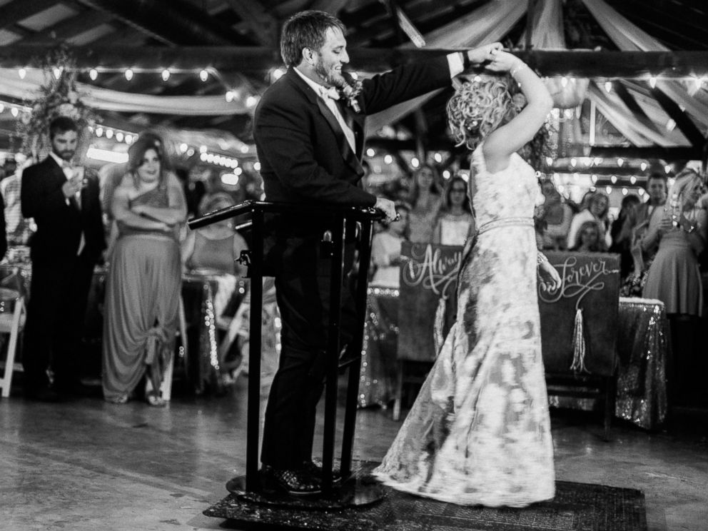 PHOTO:Kent Stephenson was paralyzed in a moto-cross accident. He was able to stand at his wedding with the help of an experimental spine implant.