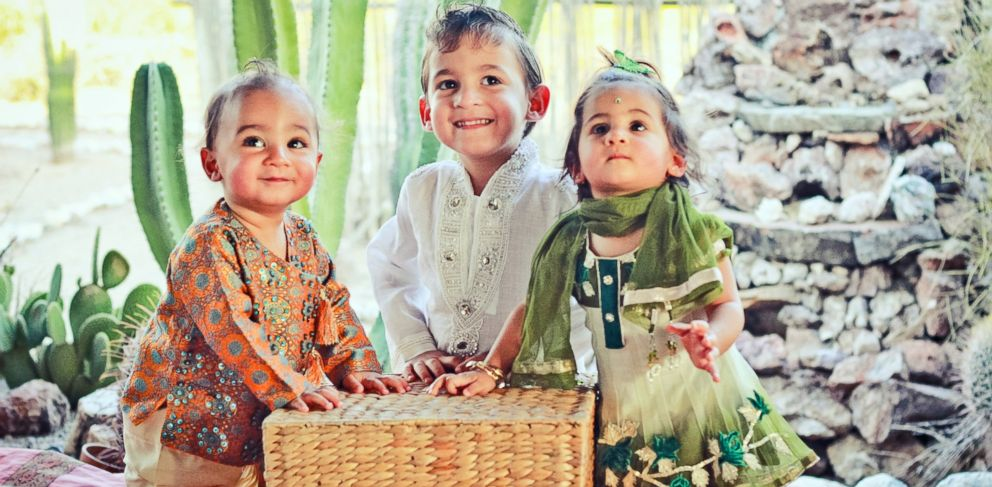 PHOTO: Blaze, Dylan and Jett Wile dressed in Indian garb. Their parents plan to keep their connection to their birthplace alive.