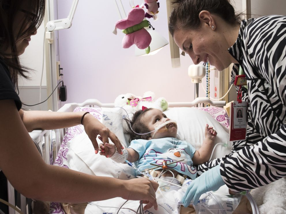 PHOTO: Adeline Mata shown here recovering from a surgery to help with her breathing.