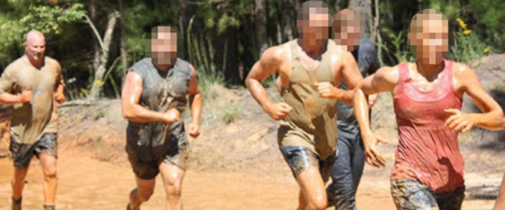 "PHOTO: Though he convinced the VA for years that he was completely disabled, Dennis Paulsen, far left, competed in a Marine Corps ""Tough Mudder"" race."