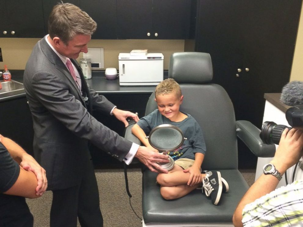 PHOTO: Gage Berger, 6, is pictured after getting ear pinning surgery in Salt Lake City, Utah, done by Dr. Steven Mobley of the Mobley Founation for Charitable Surgery.