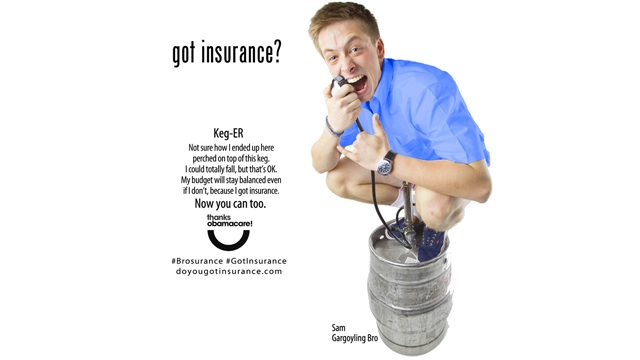 PHOTO:Bro-inurance promotes health insurance sign up with keg stand.
