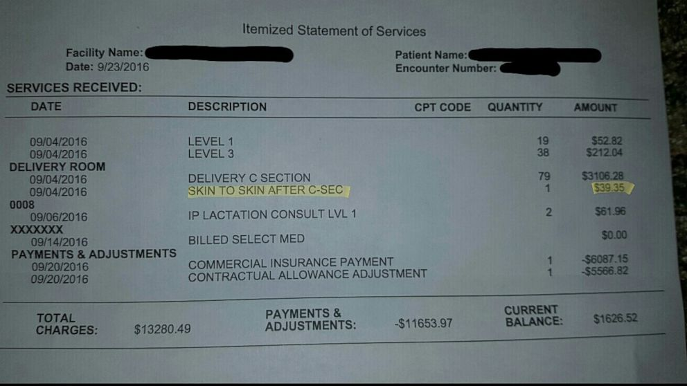 Ryan Grassley, of Spanish Fork, Utah, posted a hospital bill online showing he and his wife, Lidia, were charged $39.35 charge for skin-to-skin time after the birth of their son, Samuel.