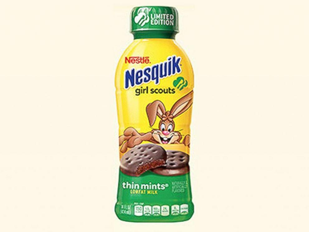 PHOTO: Nestles Girl Scouts inspired Thin Mint Nesquik milk.