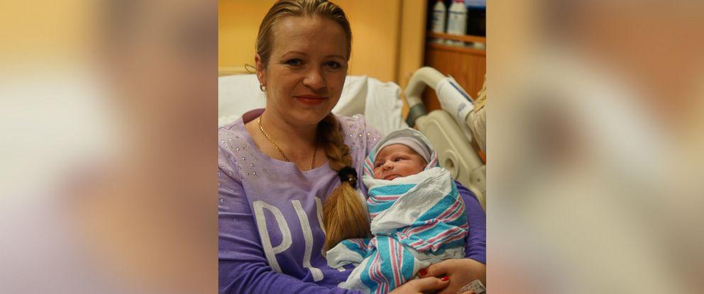 PHOTO: Olena Olenyukh gave birth to Maxim Olenyukh at midnight on January 1, 2015 at Coney Island Hospital.