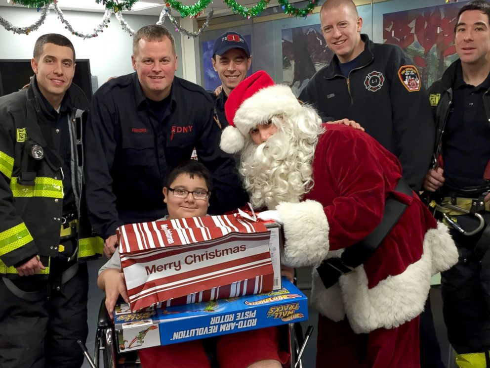 PHOTO: Santa visited NYU Langone patients today with his helpers: New York City firefighters.