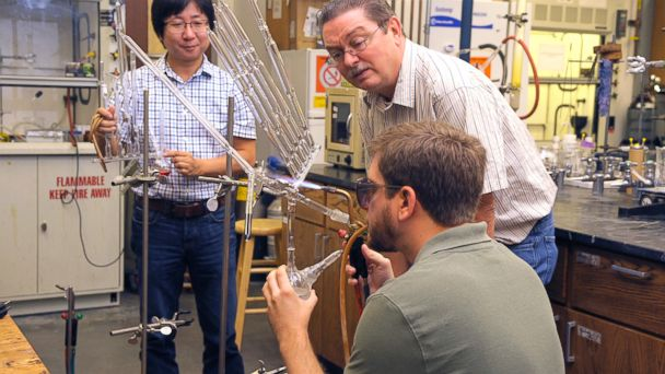 PHOTO: University of Tennessee researcher Jimmy Mays works on his condom of the future design.