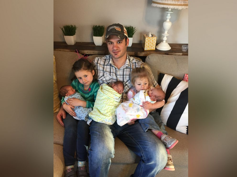 PHOTO: Joey Rott is pictured here with his five children including the triplets born earlier this year.