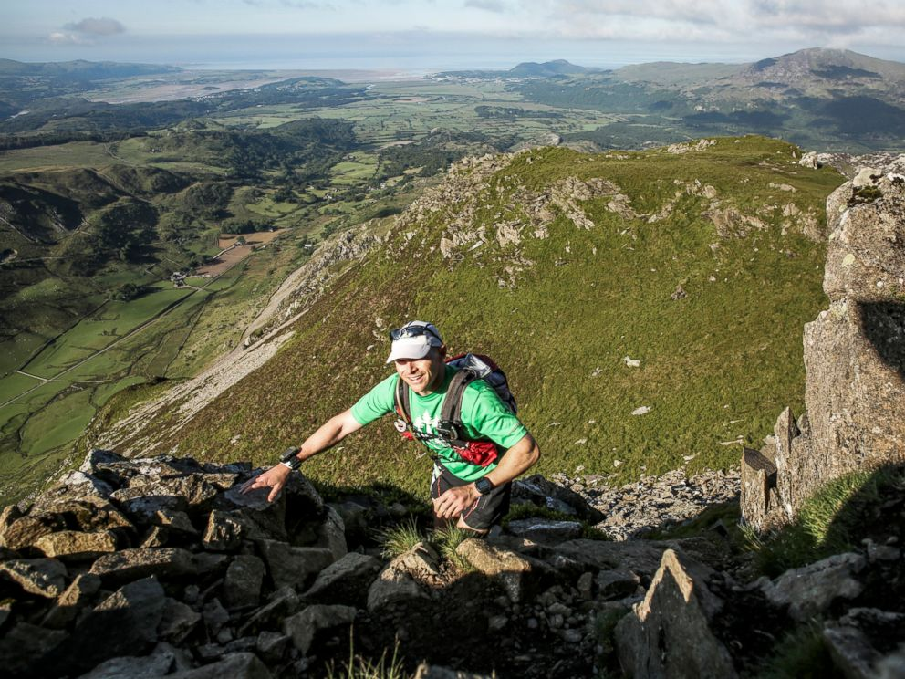 PHOTO: Gavin Woody navigates a technical mountaineering portion of a five-day race from north to south Wales called the Dragons Back in 2015