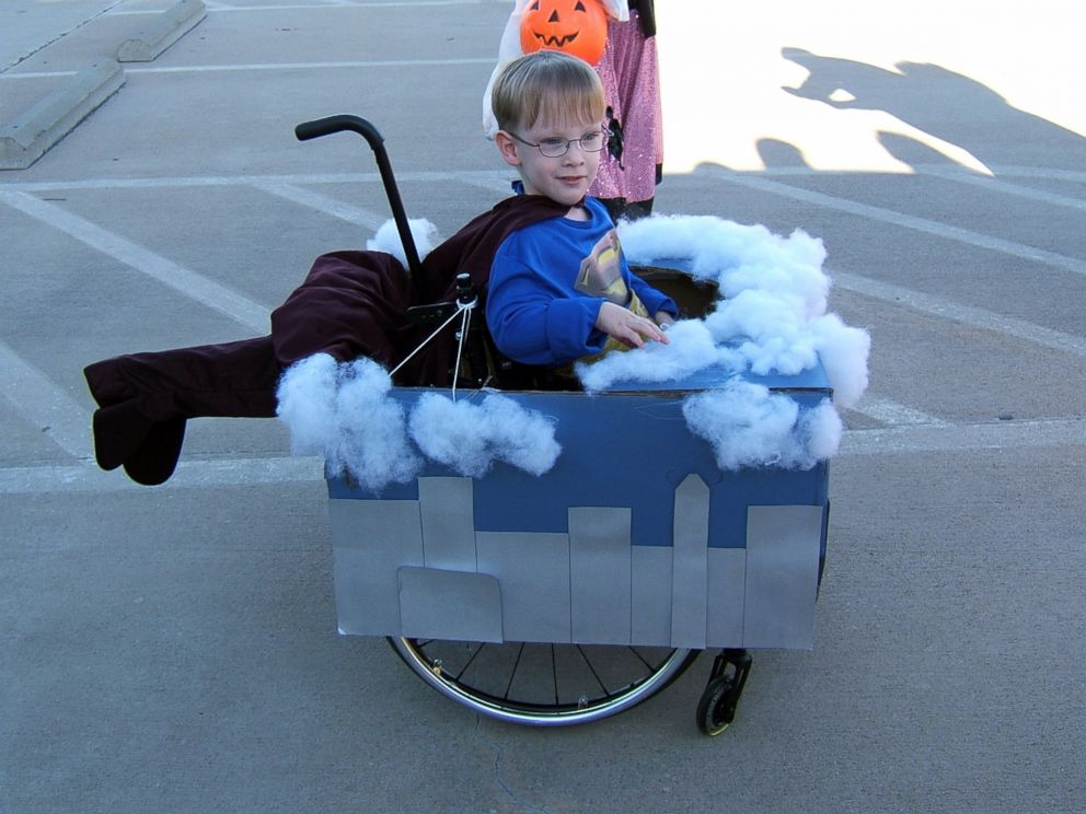 PHOTO: Caleb McLelland is pictured here at age 4 as Superman flying through the clouds in a wheelchair costume designed by his mother Cassie McLelland for Halloween 2009.