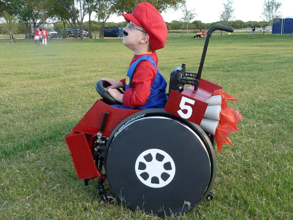 PHOTO: Caleb McLelland is pictured here at age 5 as Mario in a MarioKart wheelchair designed by his mother Cassie McLelland for Halloween 2010.