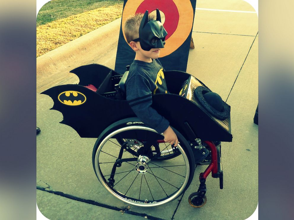 PHOTO: Caleb McLelland is pictured here at age 6 as Batman in a Batmobile wheelchair designed by his mother Cassie McLelland for Halloween 2011.
