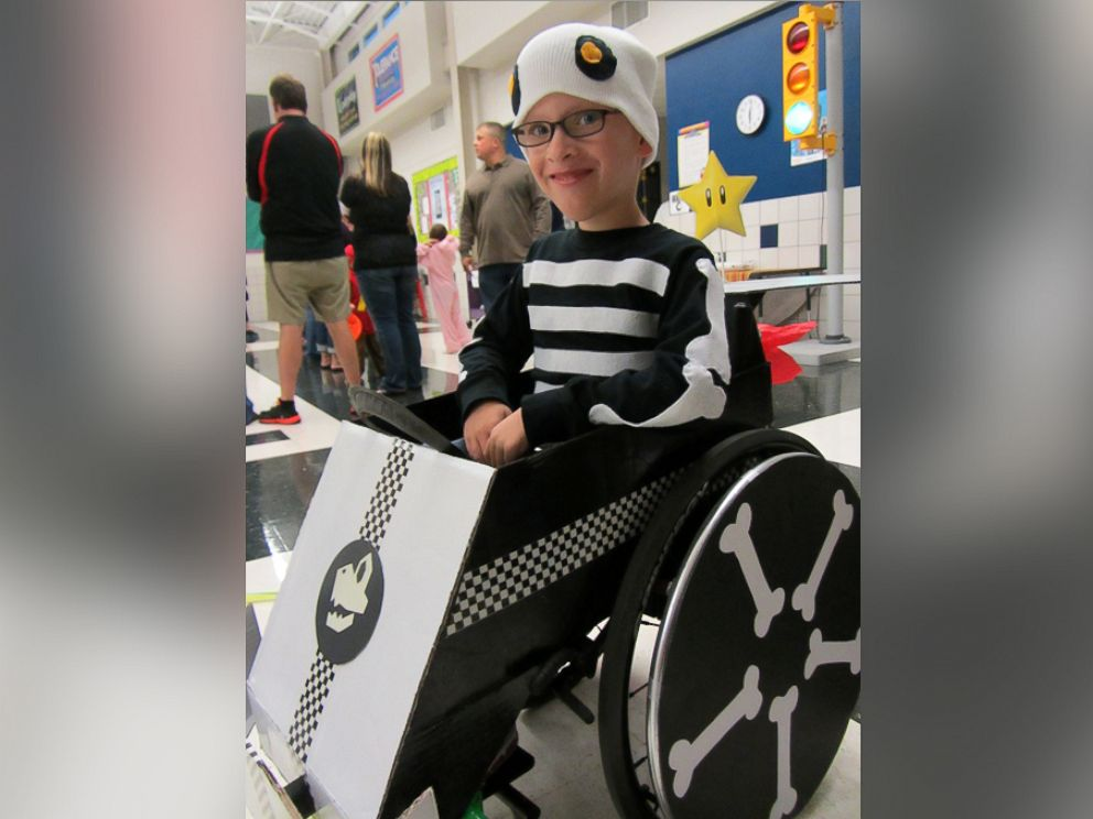 PHOTO: Caleb McLelland is pictured here at age 7 as Dry Bones in a MarioKart wheelchair designed by his mother Cassie McLelland for Halloween 2012.