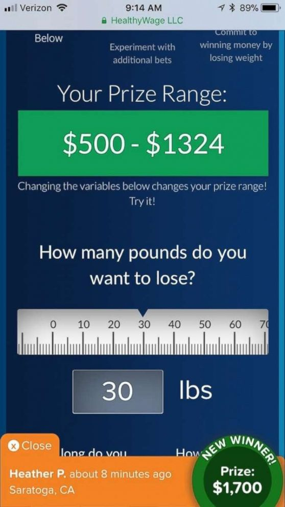 PHOTO: HealthyWage users can win money for losing weight.