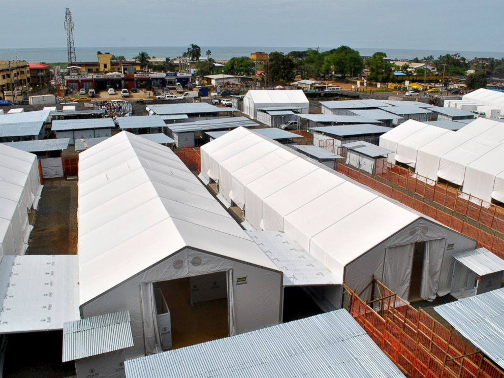 PHOTO: An aerial view shows a 100-bed Ebola treatment center opened in Liberias capital Monrovia, Oct. 31, 2014.