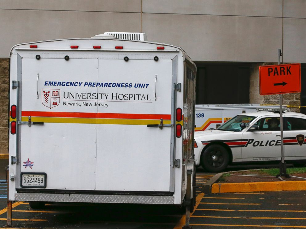 PHOTO: A University Hospital Emergency Preparedness Unit vehicle is seen where a person was being checked for Ebola at University Hospital in Newark, N.J., Oct. 22, 2014.