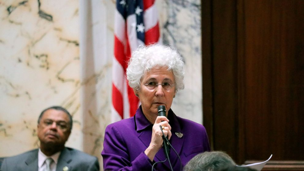 Delegate Shane Pendergrass, a Howard County Democrat, speaks in support of her bill to allow the terminally ill with six months or less to live to end their lives with a doctor's help during a debate in the Maryland House of Delegates on Thursday, March 7, 2019, in Annapolis, Md. The bill passed the House 74-66. It now goes to the Maryland Senate. (AP Photo/Brian Witte)
