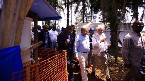 UN chief visits Congo Ebola region, pledging support