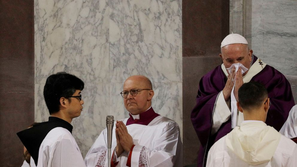 Pope cancels visit with Rome priests for 'slight' illness thumbnail