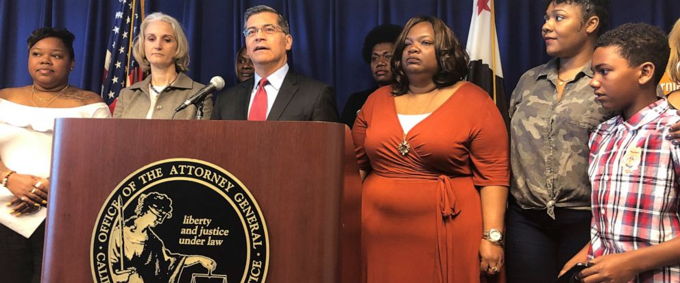 California Attorney General Xavier Becerra announces a lawsuit against the Trump Administrations new rule affecting home health care workers on Monday, May 13, 2019, in Sacramento, California. California and four other states, Connecticut, Massachus