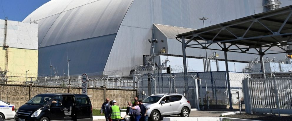 FILE - This June 1, 2019, file photo shows a view of the New Safe Confinement (NSC) movable enclosure at the nuclear power plant in Chernobyl, Ukraine. A new structure built to confine the Chernobyl nuclear reactor at the center of the worlds worst