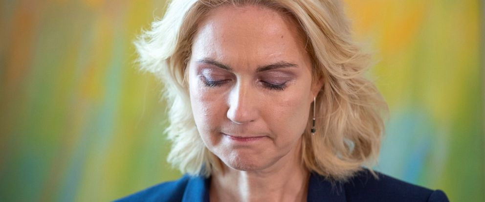 Manuela Schwesig, Governor of the north German state of Mecklenburg-Western Pomerania, addresses the media during a press conference in Schwerin, Germany, Sept. 10, 2019. Schwesig, one of the interim leaders of Germany's junior governing party, is st