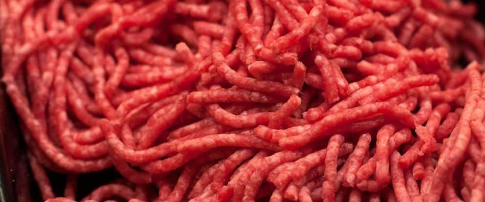 FILE - In this Saturday, April 1, 2017 file photo, ground beef is displayed for sale at a market in Washington. On Friday, April 12, 2019, the Centers for Disease Control and Prevention said ground beef is the likely source of an E. coli outbreak tha