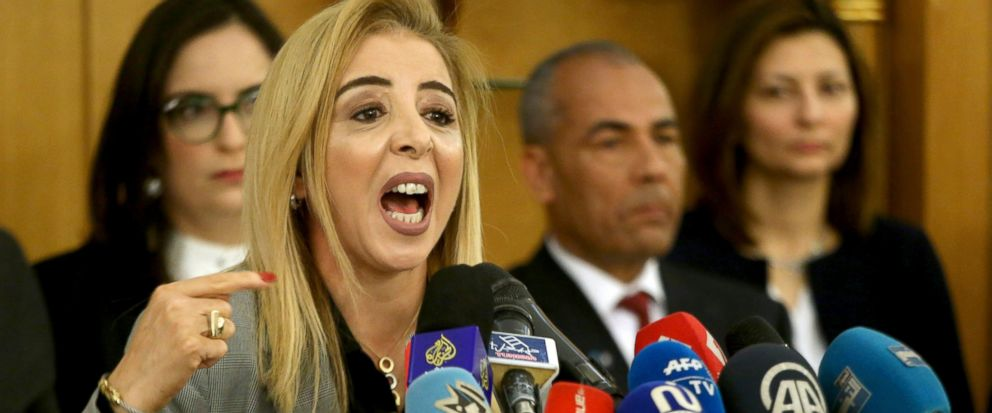 New interim Tunisias Health Minister Sonia Ben Sheikh gives press conference in Tunis, Monday, March 11, 2019. Tunisias interim health minister says 12 newborn babies have died after receiving treatment in a state maternity hospital amid a brewing