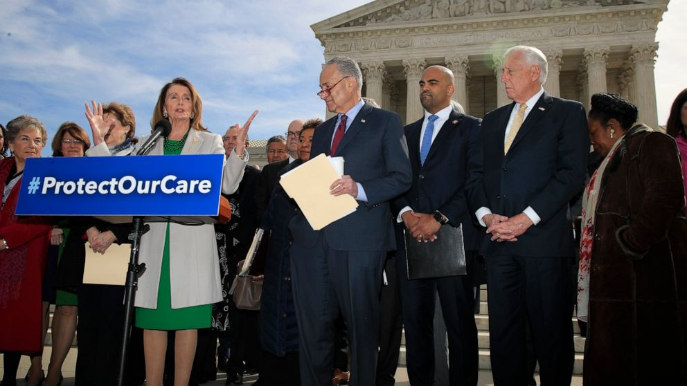 House Speaker Nancy Pelosi of California with Senate Minority Leader Chuck Schumer of New York Rep. Colin Allred D-Texas House Majority Leader Steny Hoyer of Maryland Rep. Sheila Jackson Lee D-Texas and other Democrat leaders speaks outside the U