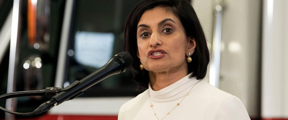 FILE - In this Feb. 14, 2019, file photo, Centers for Medicare & Medicaid Services (CMS) Administrator Seema Verma speaks during a news conference in Washington. Expanding access to a promising but costly treatment, Medicare said Aug. 7, it will cove