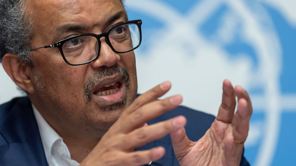 FILE - In this Thursday, March 14, 2019 file photo, Tedros Adhanom Ghebreyesus, Director-General of the World Health Organization (WHO) speaks at the European headquarters of the United Nations in Geneva, Switzerland about the update on WHO Ebola ope