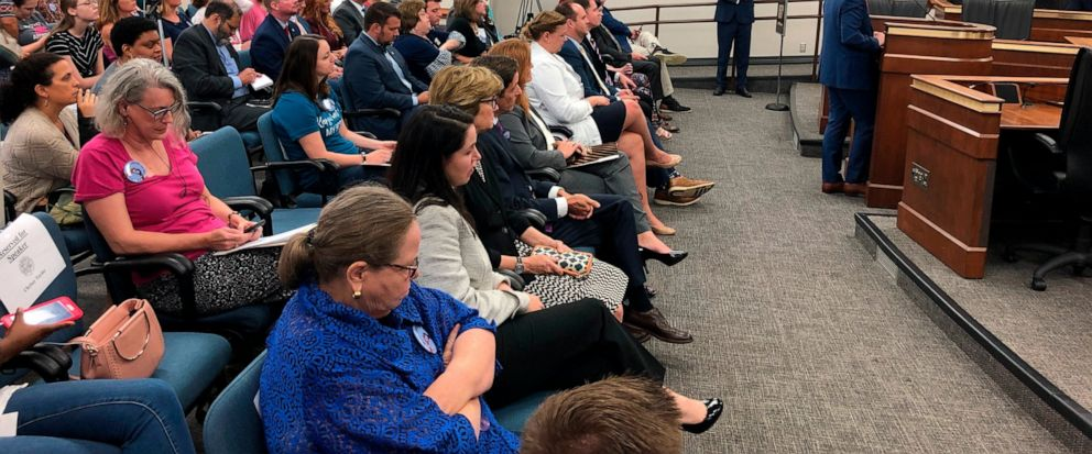 Rep. Josiah Magnuson speaks in favor of a bill banning abortion after a heartbeat is detected on Tuesday, Sept. 10, 2019, in Columbia, S.C. A South Carolina Senate subcommittees was hearing daylong testimony on the bill. (AP Photo / Jeffrey Collins)