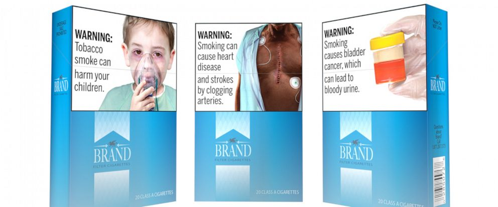 This undated image provided by the U.S. Food and Drug Administration shows proposed graphic warnings that would appear on cigarettes. The Food and Drug Administration on Thursday, Aug. 15, 2019, proposed 13 new large, graphic warnings that would appe
